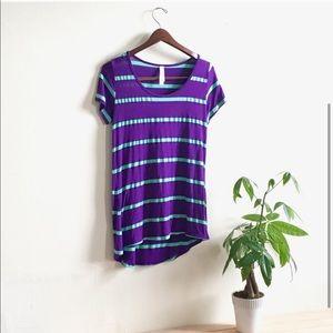 LuLaRoe Purple and Mint Striped Tee | xs